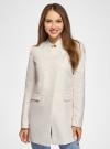 Пальто приталенное с косой застежкой oodji для женщины (слоновая кость), 10104044/45367/3000N - вид 2