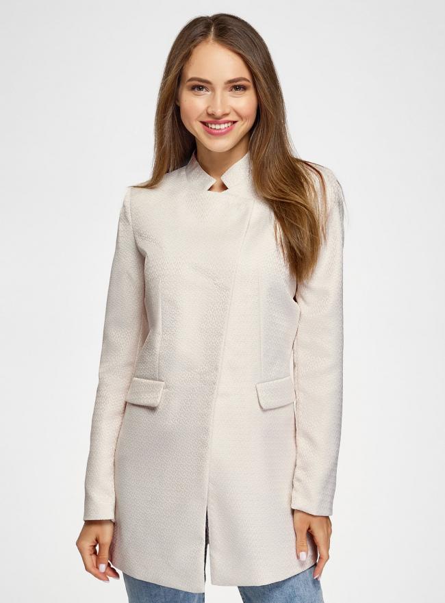 Пальто приталенное с косой застежкой oodji для женщины (слоновая кость), 10104044/45367/3000N