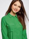 Блузка из струящейся ткани с регулировкой длины рукава oodji для женщины (зеленый), 11403225-1B/45227/6A00N - вид 4