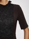 Платье с декоративной отделкой горловины и вставкой из кружева oodji для женщины (черный), 11913033/42250/2900N - вид 5