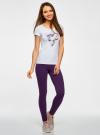 Легинсы базовые трикотажные oodji для женщины (фиолетовый), 18700046-2B/47618/8800N - вид 6