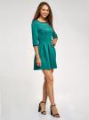 Платье трикотажное со складками на юбке oodji для женщины (зеленый), 14001148-1/33735/6D00N - вид 6