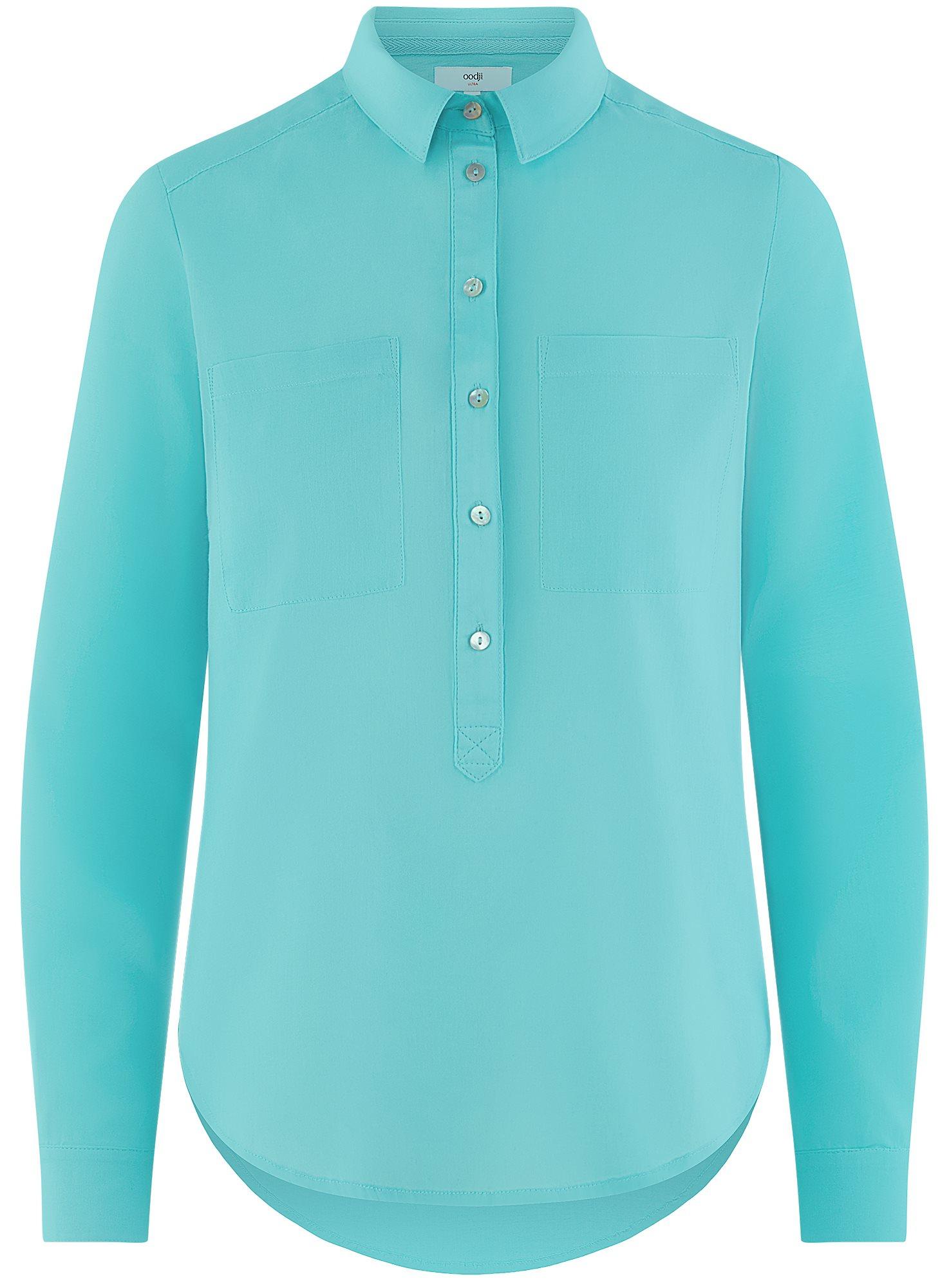 Рубашка хлопковая свободного силуэта oodji для женщины (бирюзовый), 11411101B/45561/7300N