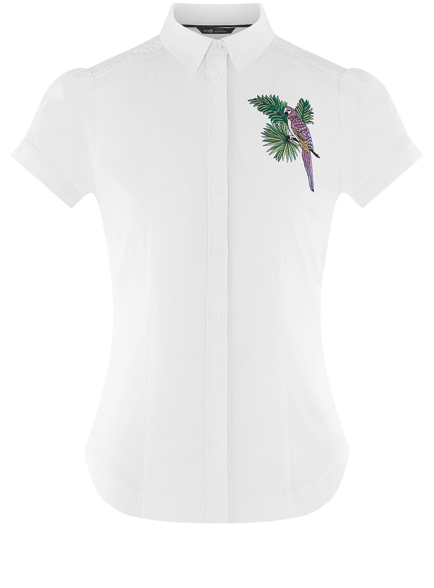 Рубашка хлопковая с вышивкой oodji для женщины (белый), 13K01004-6/14885/1019P