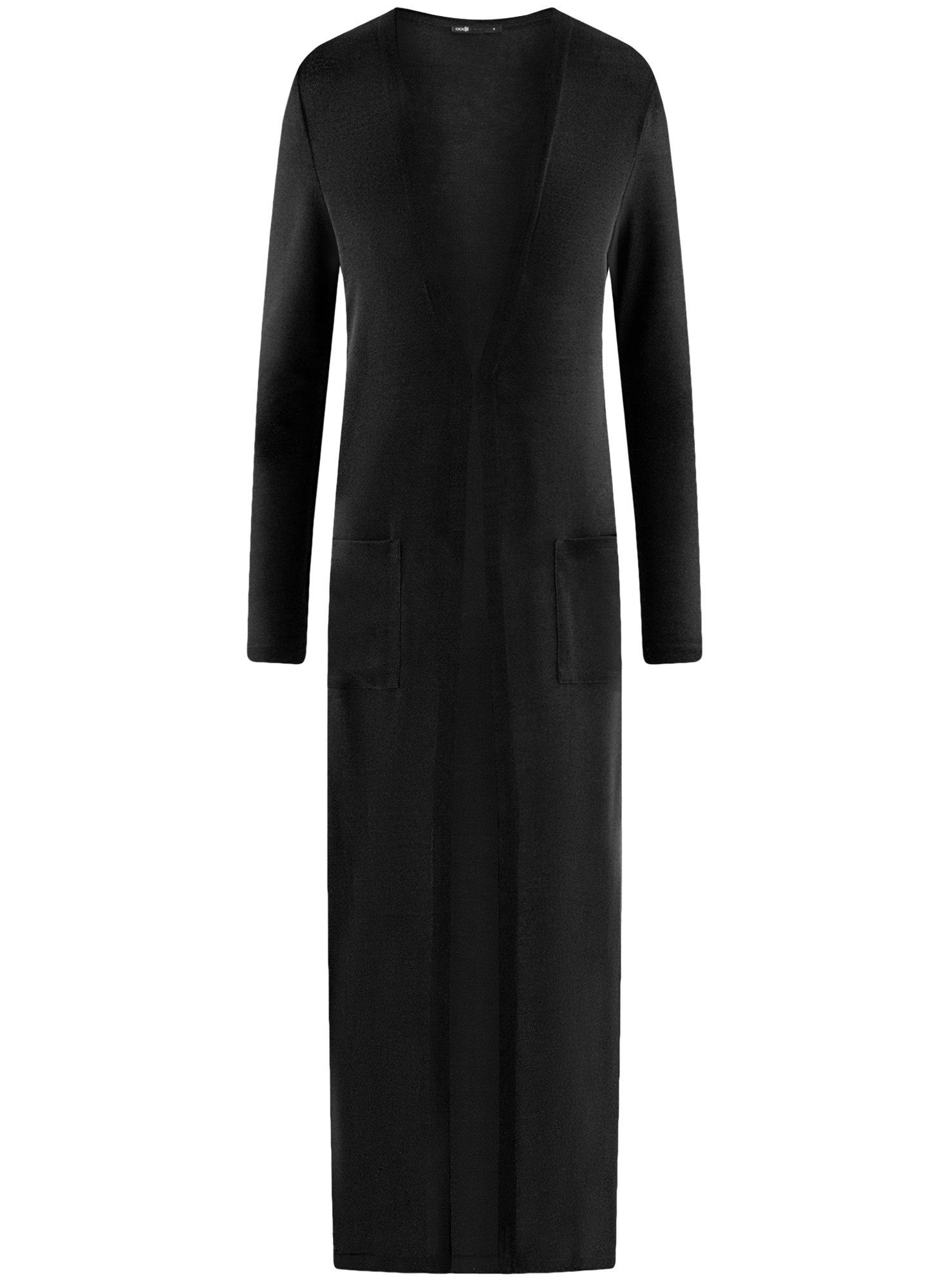 Кардиган удлиненный с разрезами по бокам oodji для женщины (черный), 17900045/45723/2900N