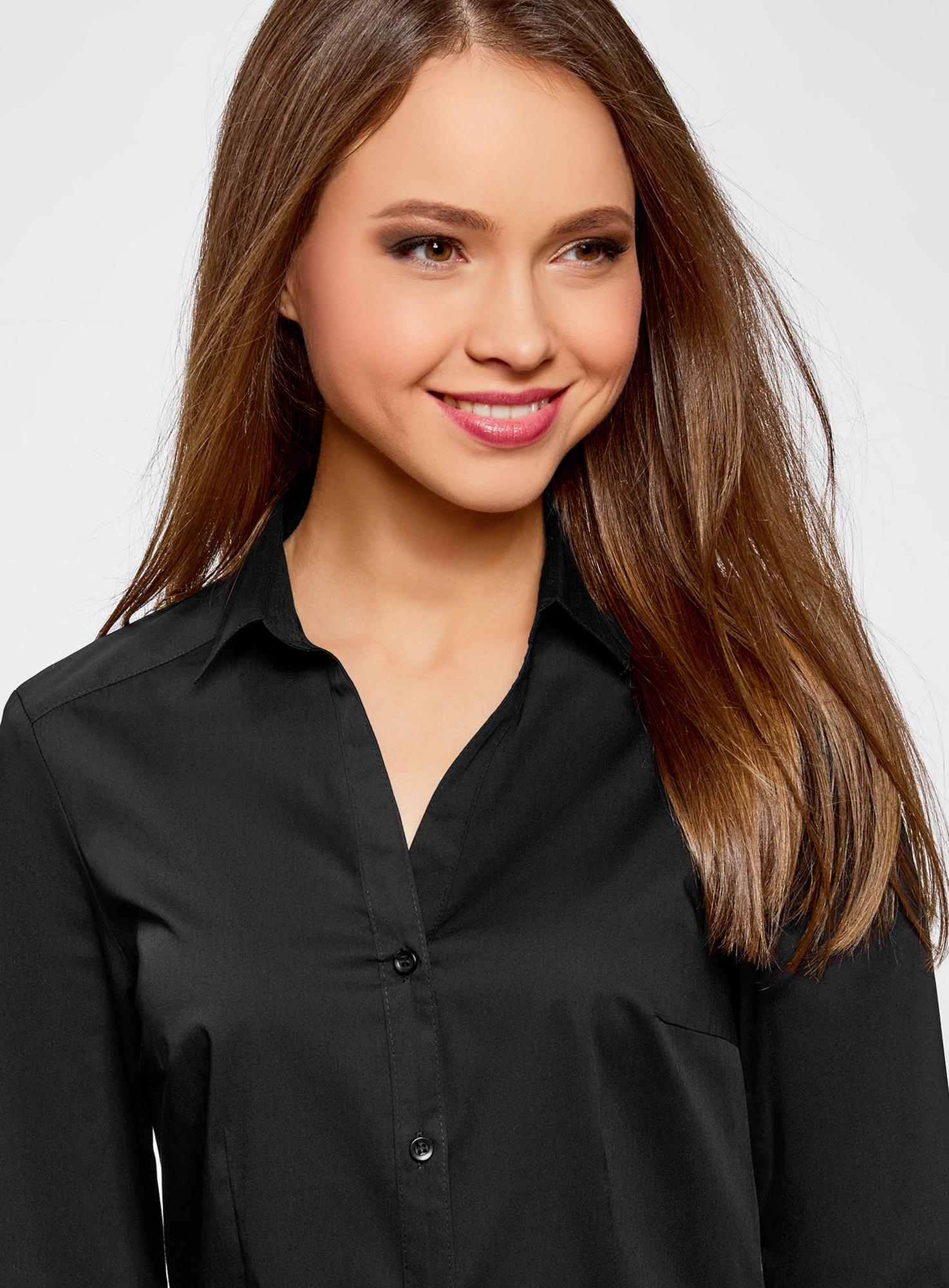 Рубашка приталенная с V-образным вырезом oodji для женщины (черный), 11402092B/42083/2900N