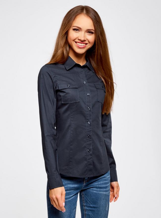 Рубашка базовая из хлопка oodji для женщины (синий), 11442121-5B/43609/7900N