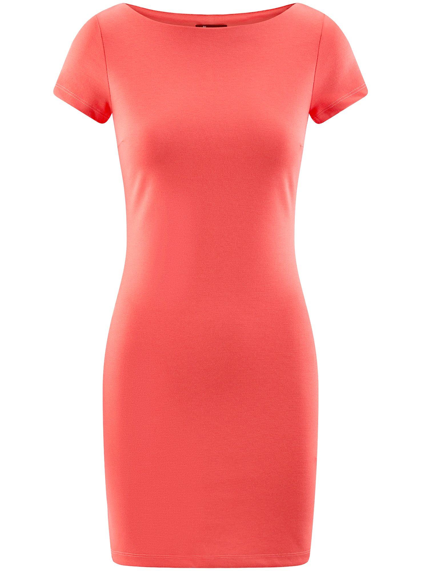 Платье трикотажное с вырезом-лодочкой oodji для женщины (красный), 14001117-2B/16564/4300N