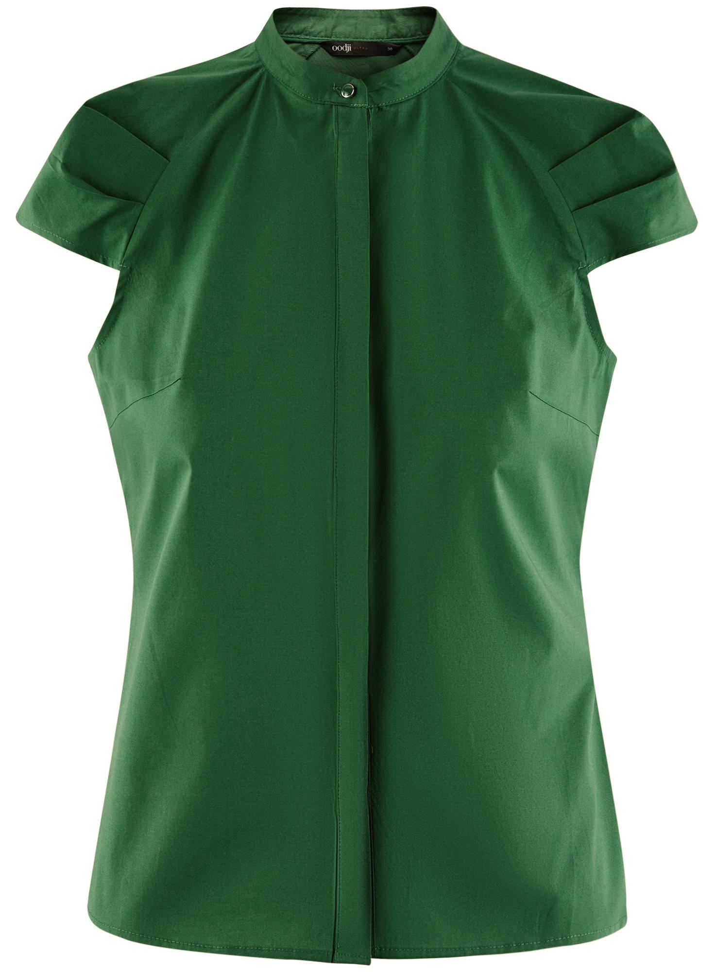 Рубашка с коротким рукавом из хлопка oodji для женщины (зеленый), 11403196-3/26357/6E00N