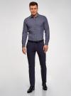 Рубашка приталенная из хлопка oodji для мужчины (синий), 3L110354M/49029N/7910O - вид 6