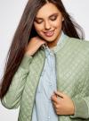 Куртка стеганая из искусственной кожи oodji для женщины (зеленый), 28A03001/45639/6000N - вид 4