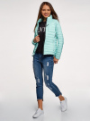 Куртка с рукавами реглан и воротником-стойкой oodji для женщины (бирюзовый), 10207006/33445/7300N - вид 6
