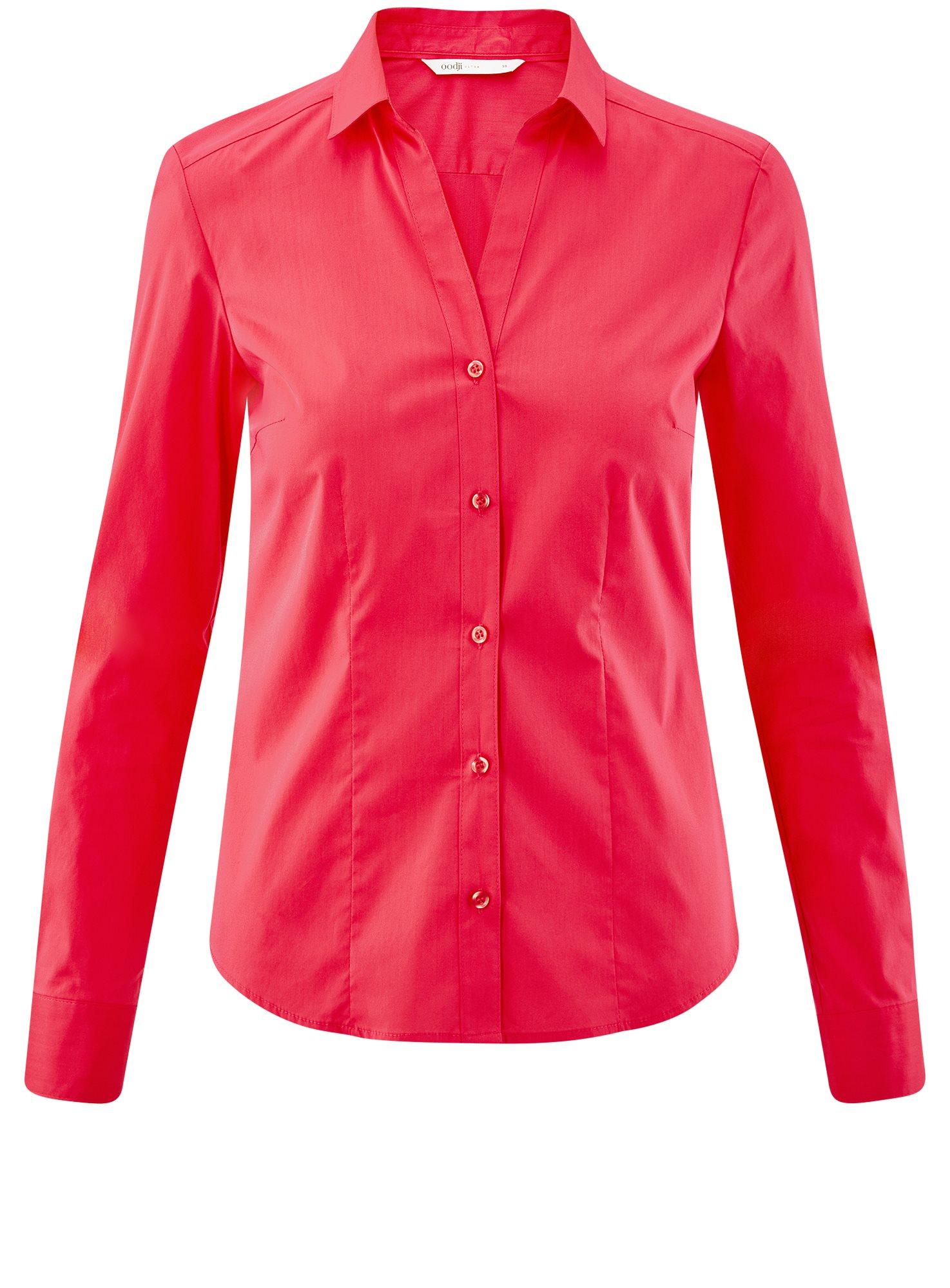 Рубашка приталенная с V-образным вырезом oodji для женщины (розовый), 11402092B/42083/4D00N