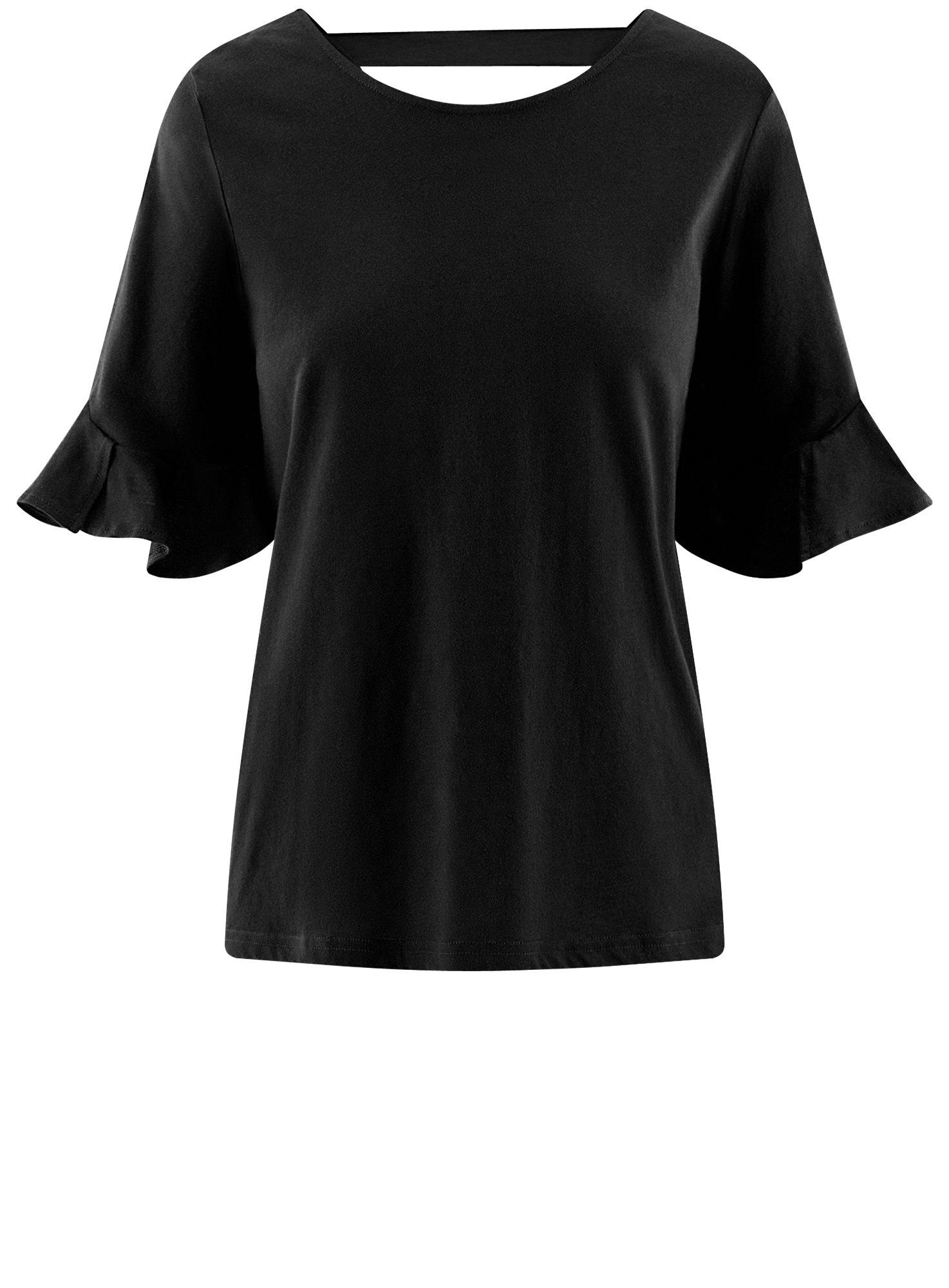 Футболка хлопковая с воланами на рукавах oodji для женщины (черный), 14201039B/48471/2900N