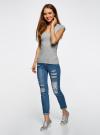 Комплект из двух базовых футболок oodji для женщины (серый), 14711002T2/46157/2000M - вид 5
