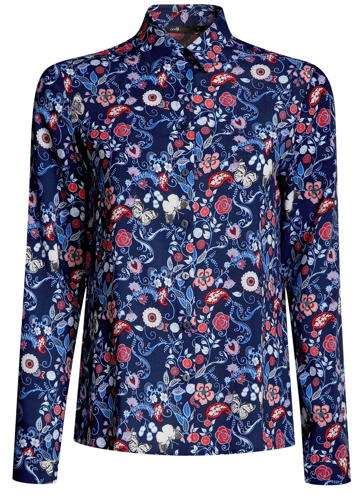 Блузка принтованная из вискозы oodji для женщины (синий), 11411098-3M/24681/7945F