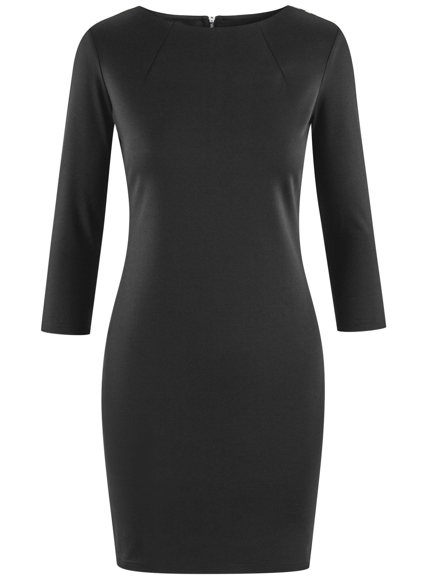 Платье с металлическим декором на плечах oodji для женщины (черный), 14001105-2/18610/2900N