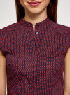 Рубашка с коротким рукавом из хлопка oodji для женщины (синий), 11403196-3/26357/7945G - вид 4
