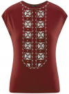 Футболка с круглым вырезом и декоративной вышивкой oodji для женщины (красный), 14708008/14744/4912P - вид 6