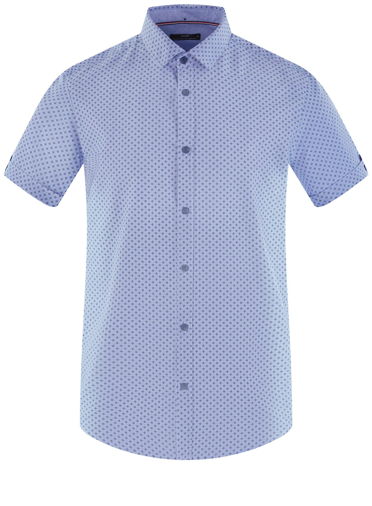 Рубашка хлопковая с коротким рукавом oodji для мужчины (синий), 3L410136M/49174N/7079G