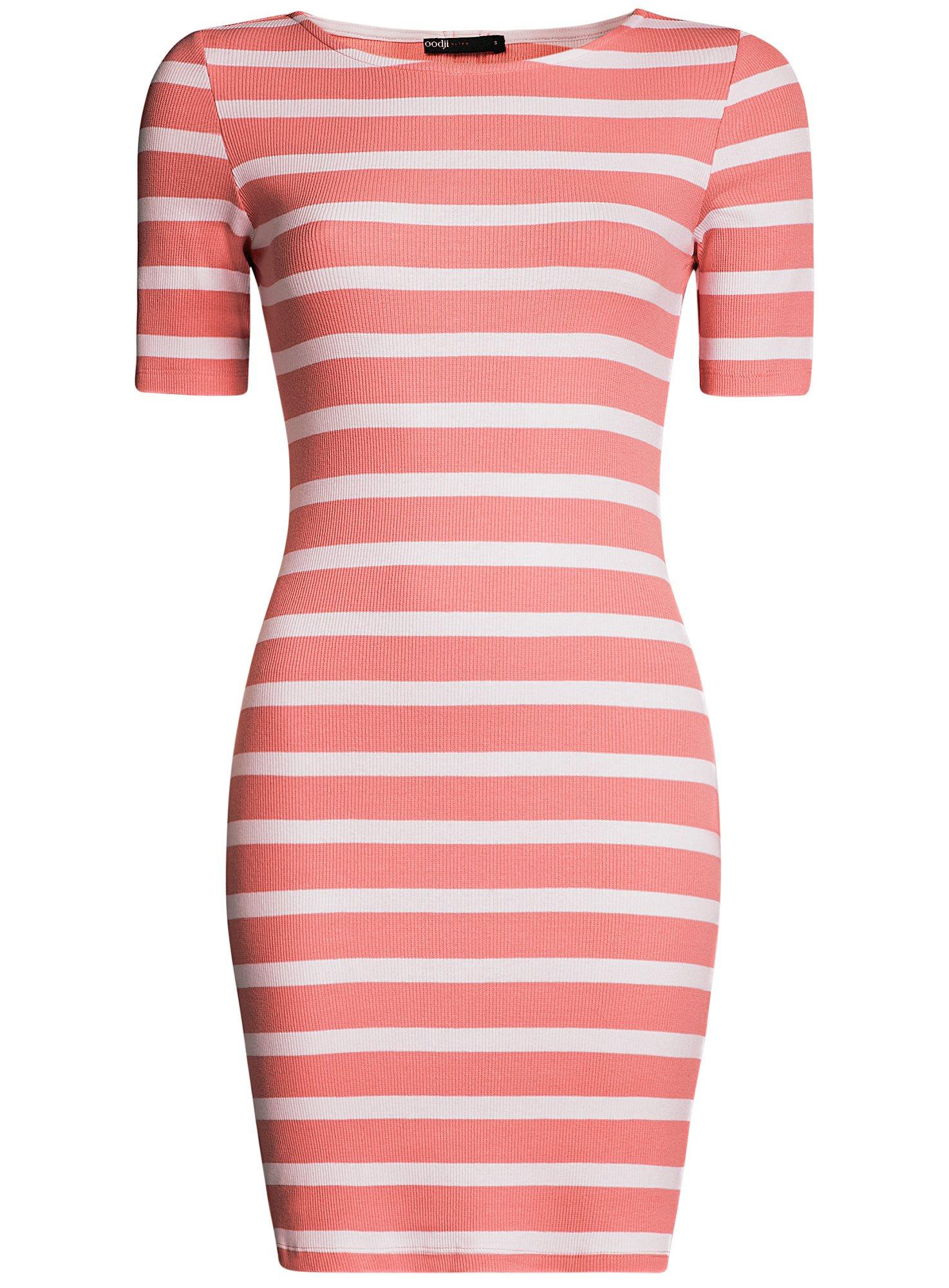 Платье прилегающего силуэта в рубчик oodji для женщины (розовый), 14011012/45210/4310S