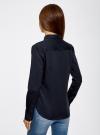 Рубашка базовая с нагрудным карманом oodji для женщины (синий), 11403205-9/26357/7949B - вид 3
