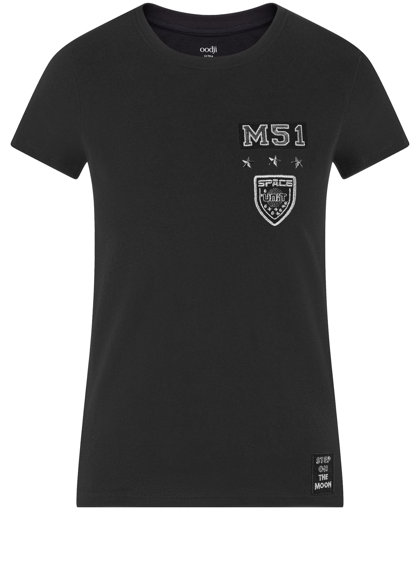 Футболка хлопковая с нашивкой oodji для женщины (черный), 14701078-36/49887/2923P
