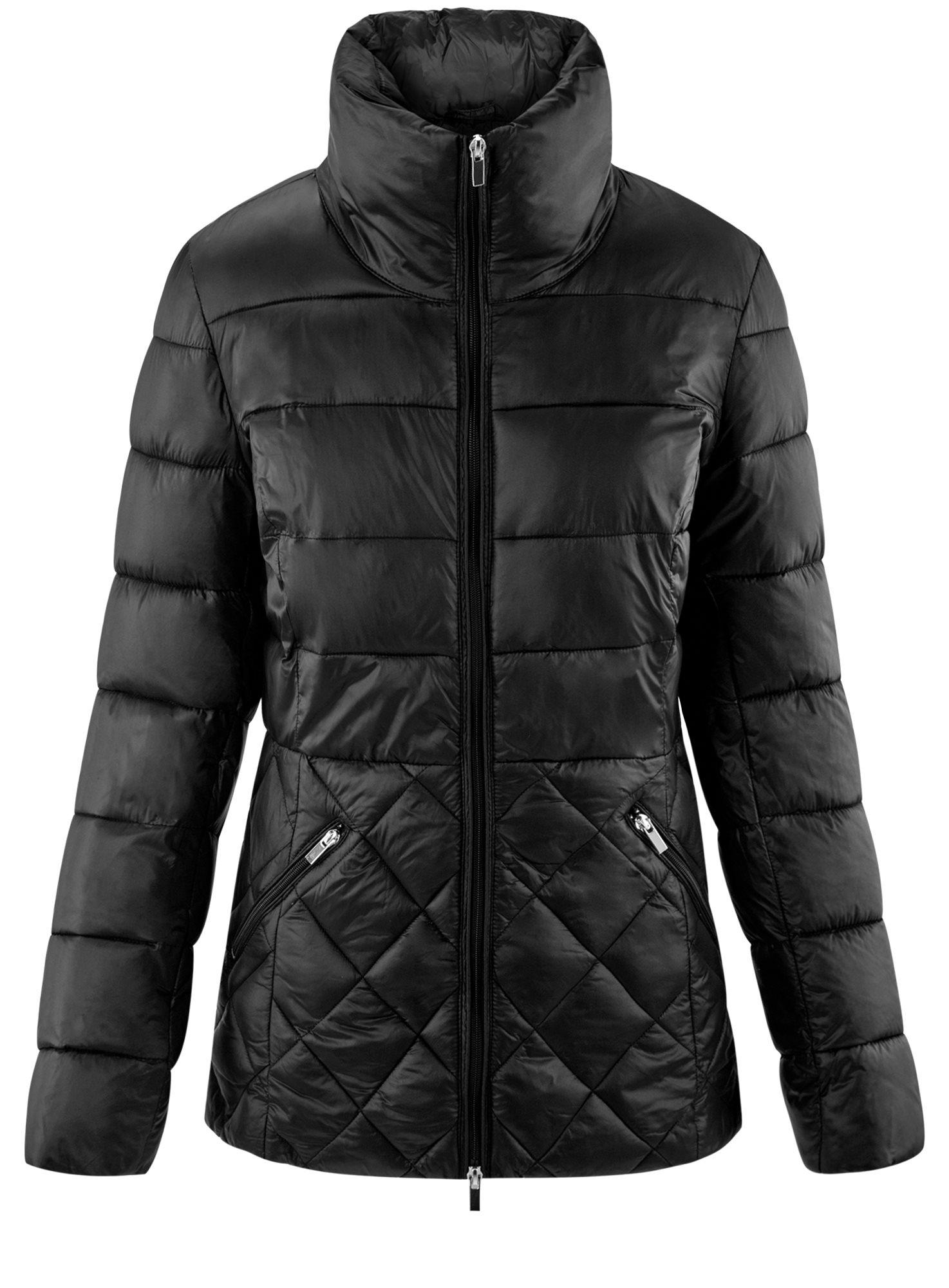 Куртка стеганая с воротником-стойкой oodji для женщины (черный), 10203031-1/18268/2900N