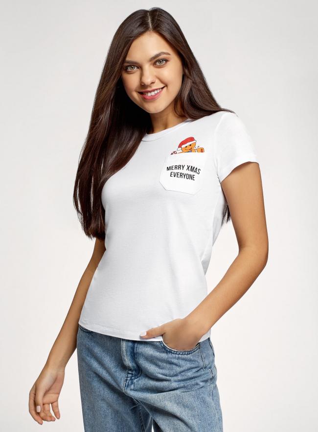 Футболка хлопковая с карманом на груди oodji для женщины (белый), 14701078-6/48369/1019P