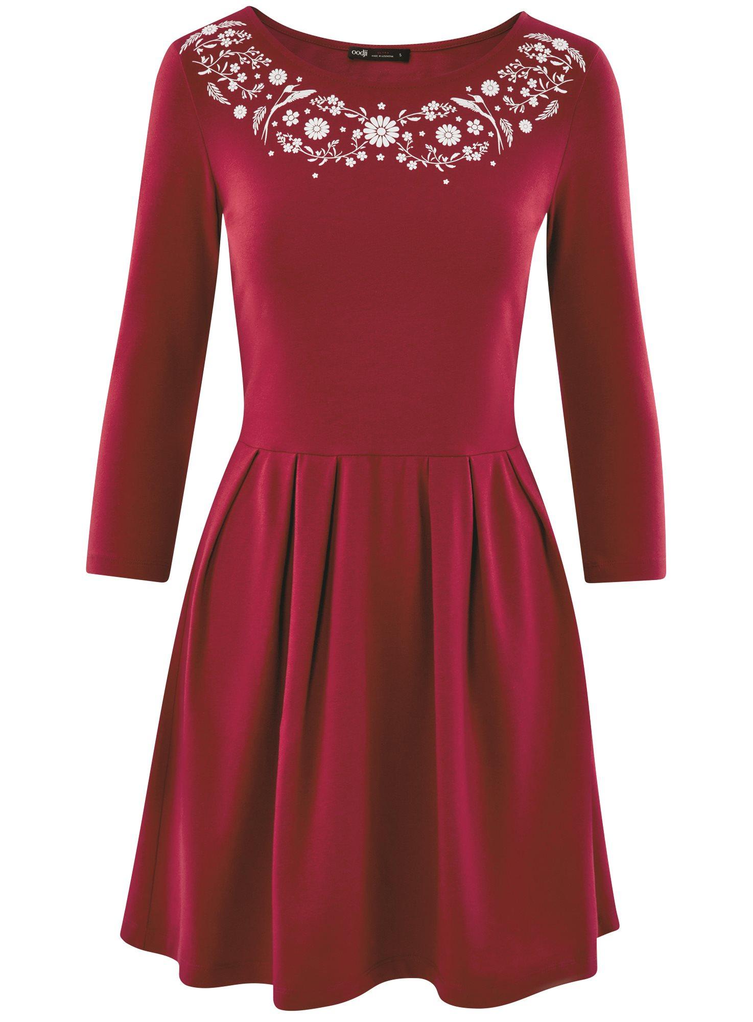 Платье трикотажное приталенное oodji для женщины (красный), 14011005-4/47420/4910P