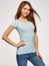 Комплект футболок с вырезом-капелькой на спине (3 штуки) oodji для женщины (синий), 14701026T3/46147/7000N - вид 2