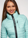 Куртка с рукавами реглан и воротником-стойкой oodji для женщины (бирюзовый), 10207006/33445/7300N - вид 4