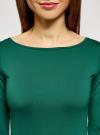 Футболка базовая с рукавом 3/4 oodji для женщины (зеленый), 24211001B/45297/6E00N - вид 4
