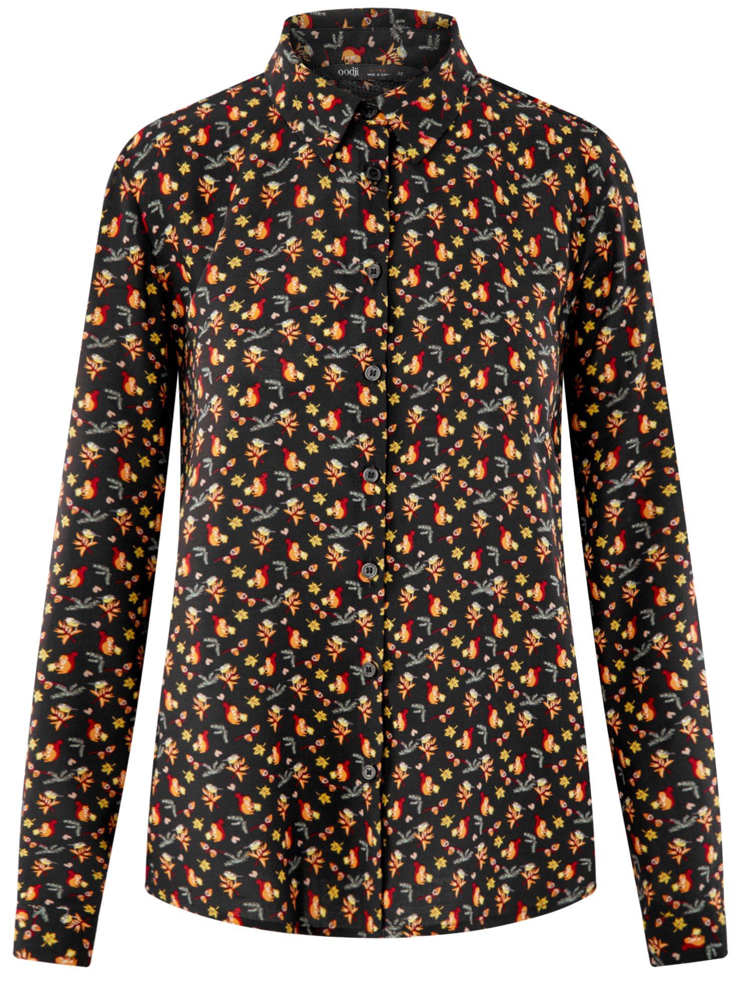 Блузка вискозная прямого силуэта oodji для женщины (черный), 11411098-3/24681/2931A