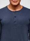Футболка хенли с длинным рукавом oodji для мужчины (синий), 5B515005M/34149N/7500N - вид 4