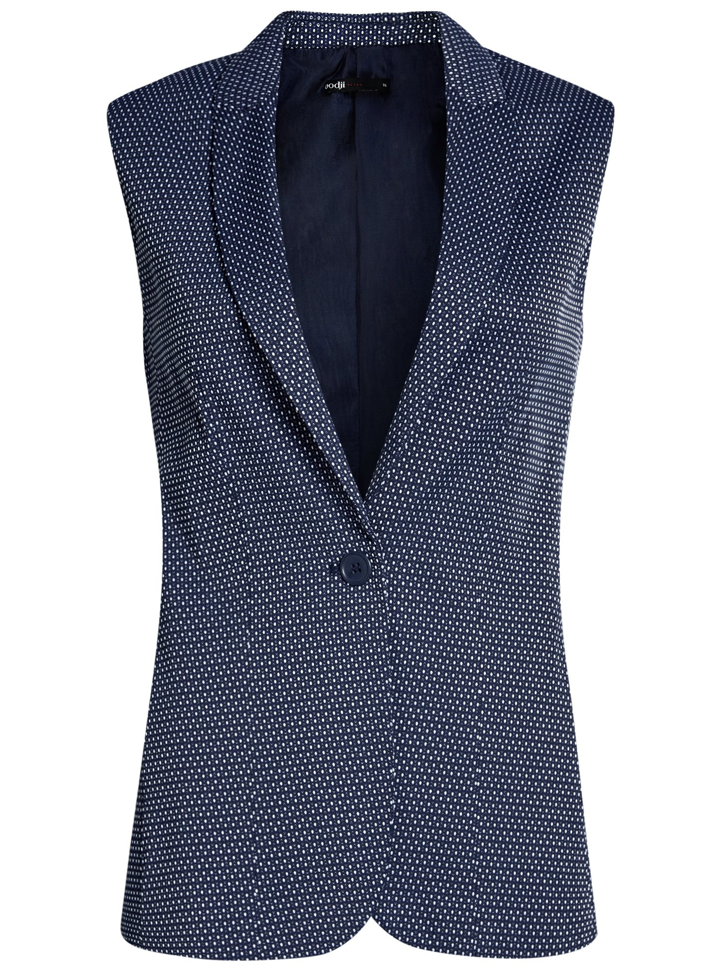 Жилет классический из фактурной ткани oodji для женщины (синий), 12300099-6/46373/7912D