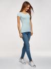 Комплект футболок с вырезом-капелькой на спине (3 штуки) oodji для женщины (синий), 14701026T3/46147/7000N - вид 6