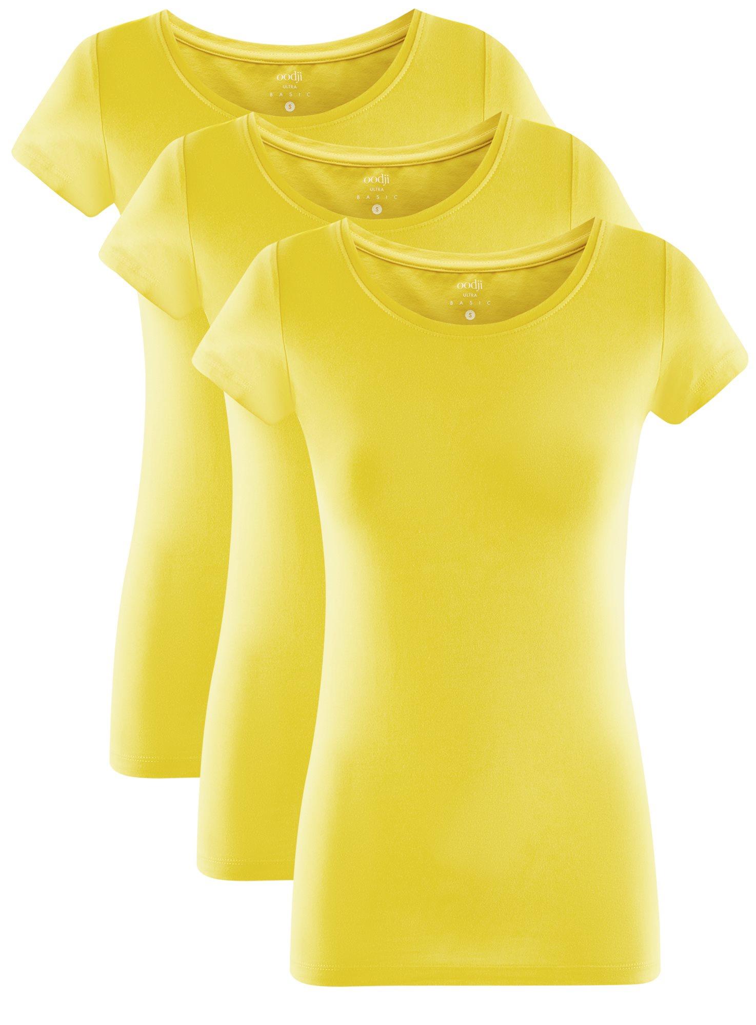 Футболка базовая приталенная (комплект из 3 штук) oodji для женщины (желтый), 14701005T3/46147/5100N