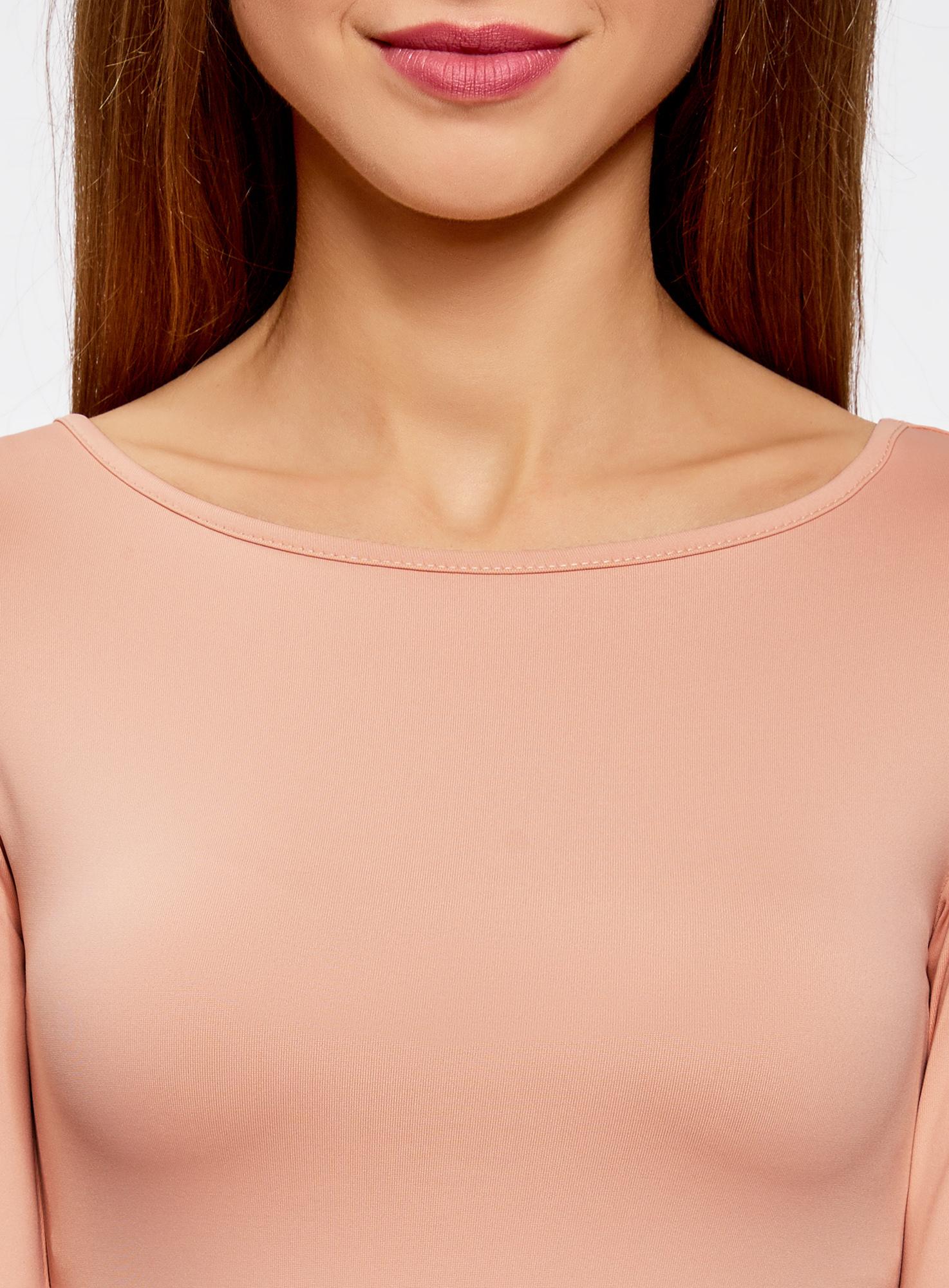 Футболка базовая с рукавом 3/4 oodji для женщины (розовый), 24211001B/45297/4B00N