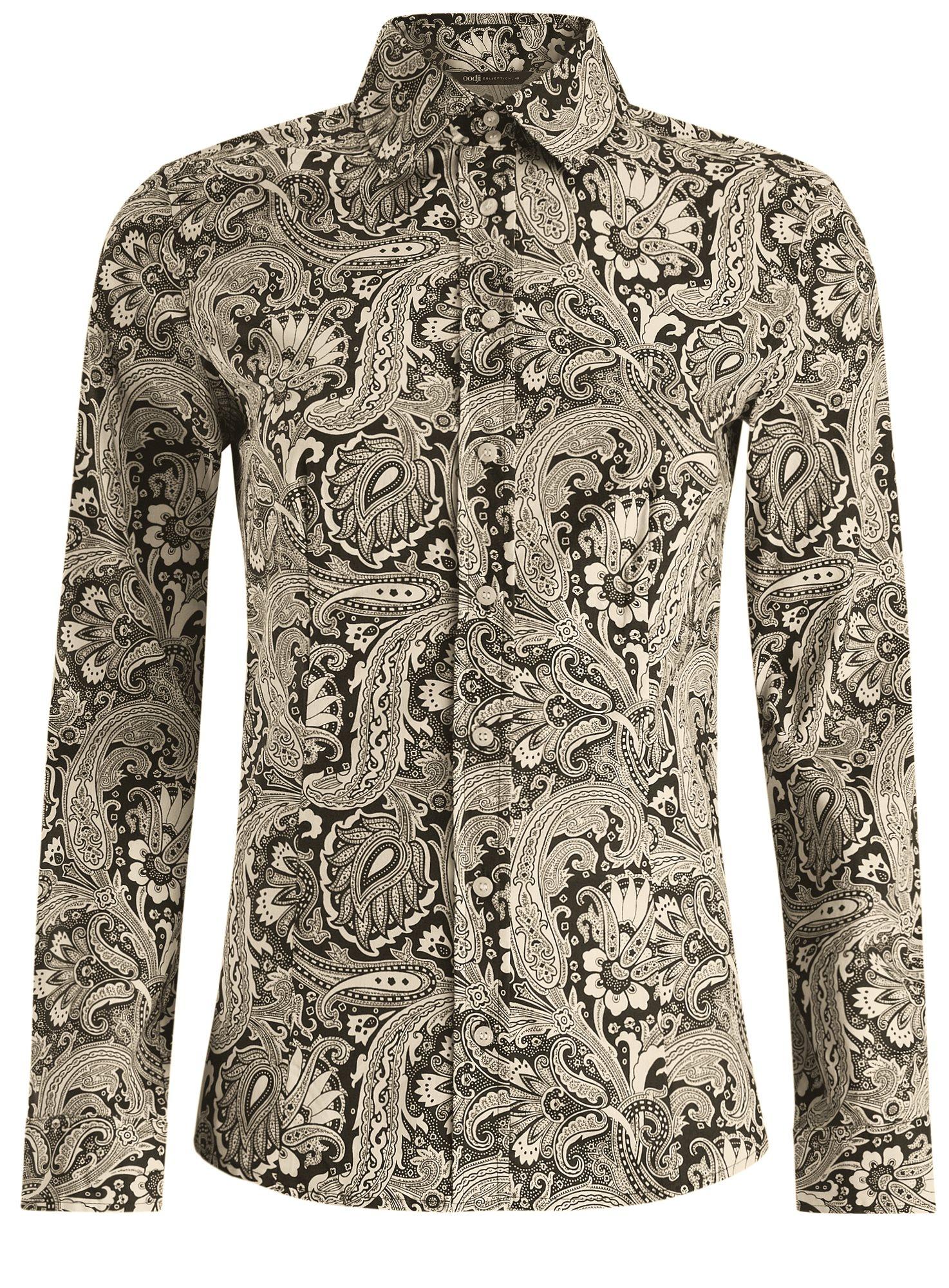 Рубашка приталенная принтованная oodji для женщины (бежевый), 21402212/14885/2930E