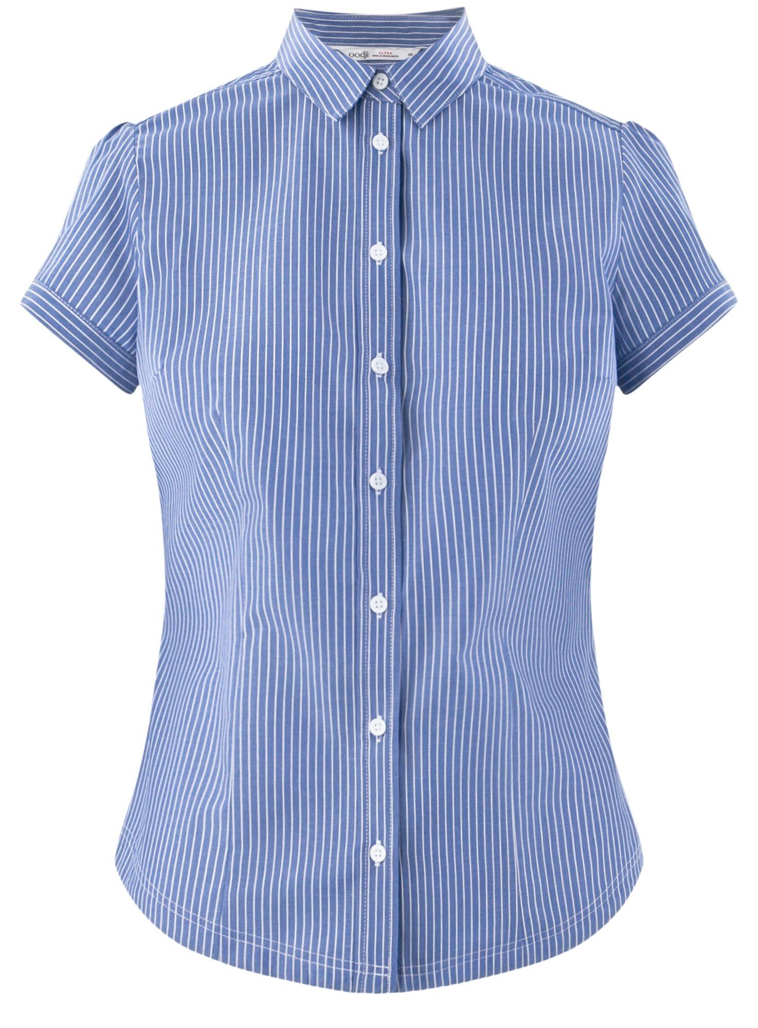 Рубашка хлопковая с коротким рукавом oodji для женщины (синий), 13K01004B/33081/7510S
