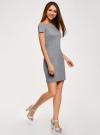 Платье трикотажное с вырезом-лодочкой oodji для женщины (серый), 14001117-2B/16564/2500M - вид 6
