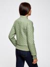Куртка стеганая из искусственной кожи oodji для женщины (зеленый), 28A03001/45639/6000N - вид 3