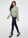 Куртка стеганая из искусственной кожи oodji для женщины (зеленый), 28A03001/45639/6000N - вид 6