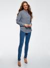Блузка прямого силуэта с нагрудным карманом oodji для женщины (синий), 11411134B/46123/7912G - вид 6