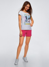 Шорты хлопковые с вышивкой  oodji для женщины (розовый), 17000025-1/48434/4700P - вид 5