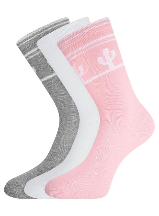Комплект высоких носков (3 пары) oodji для женщины (разноцветный), 57102902T3/47469/38