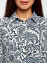 Блузка принтованная из шифона oodji #SECTION_NAME# (белый), 11400394-5/36215/1279E - вид 4