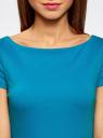 Платье трикотажное с вырезом-лодочкой oodji #SECTION_NAME# (синий), 14001117-2B/16564/7501N - вид 4