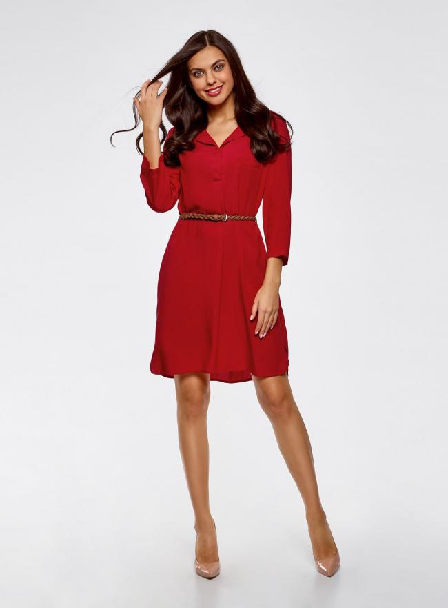 Платье вискозное с ремнем oodji для женщины (красный), 11900180/42540/4500N